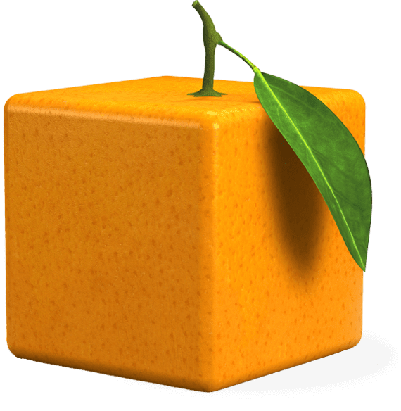 Cube orange with leaf