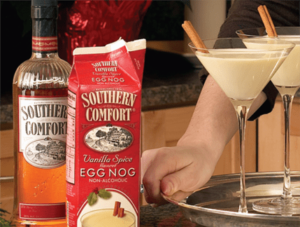 Southern Comforth egg nog and whiskey bottle