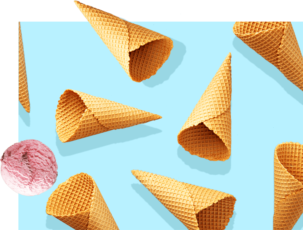 Ice Cream collage with blue background.