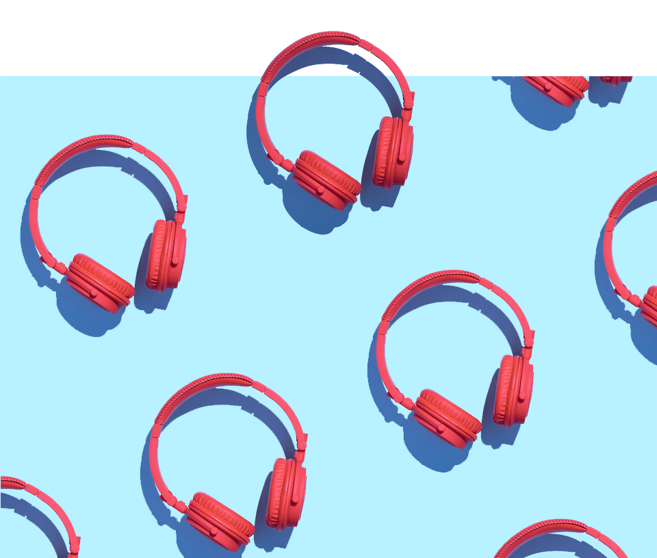 Headphones on blue background
